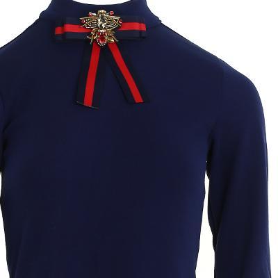 ribbon point long dress navy